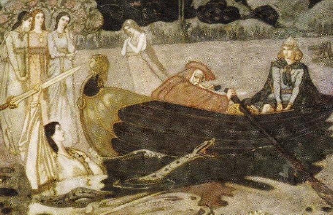 Regele Arthur primeste sabia Excalibur, de la Doamna Lacului