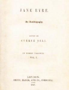 """Foaia de titlu a primei editii a romanului """"Jane Eyre"""""""