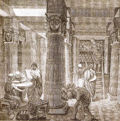 biblioteca-din-alexandria-gravura-sec-IX