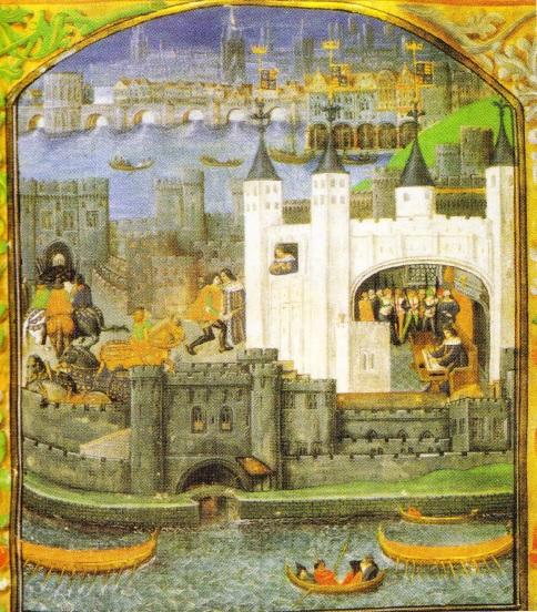 Turnul Londrei, fortificat si inaccesibil, servea drept resedinta ideala pentru rege (miniatura medievala)