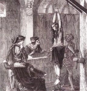 Femeie din Evul Mediu, invinuita de vrajitorie. Eric Deschamps, sec. XIX