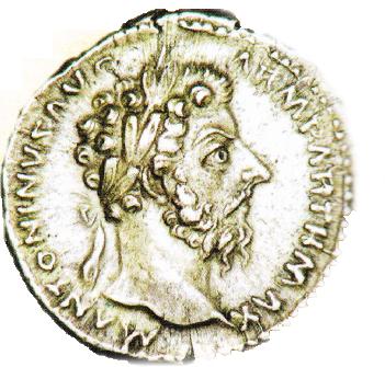Moneda Romana (denar) - cu capul lui Marcus Aurelius - An 164