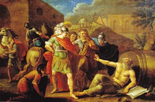 Alexandru cel Mare in fata lui Diogene. I. Tupylev (1787)