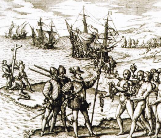 Columb debarcând pe insula Espaniola