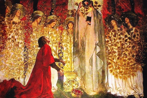 Sir Gatahad se inchina in fata Sfantului Graal. Fresca de Edwin Austin Abbey. (1890-1901)