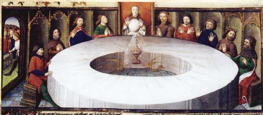 Graalul in centrul Mesei Rotunde. In jurul careia stau cavalerii. Miniatura din Evul Mediu