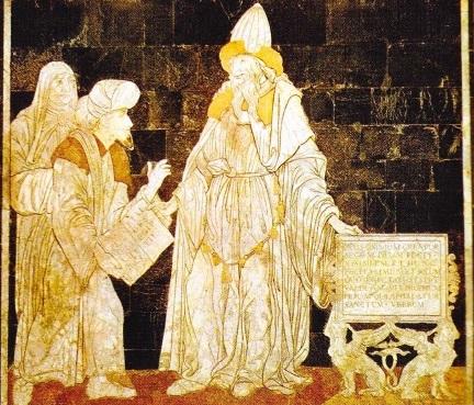 Hermes Trimegistul si Moise. Mozaic de Giovanni Di Stefano. Catedrala din Siena