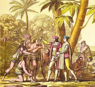 Întâlnirea dintre grupul lui Columb şi Indieni