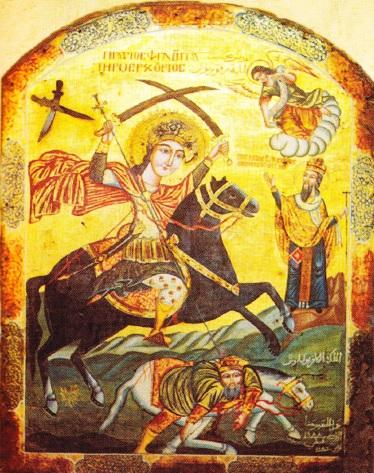 Iulian, doborât de Sfântul Mercuriu. Icoană.