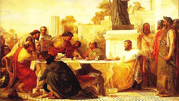 Iulian, la o intalnire a idolatrilor. (E. Armitage, 1875)