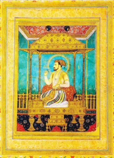"""Shah Jahan pe """"Tronul Păunului"""". (Miniatură. Aprox. 1635)"""