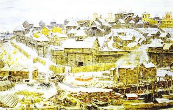 Kremlinul-din-Moscova-in-timpul-lui-Ivan-Kalita-pictura-de-Fyodor-Alekseyev