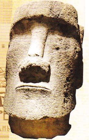 Fragment moai. Tuf vulcanic de bazalt. Insula Pastelui