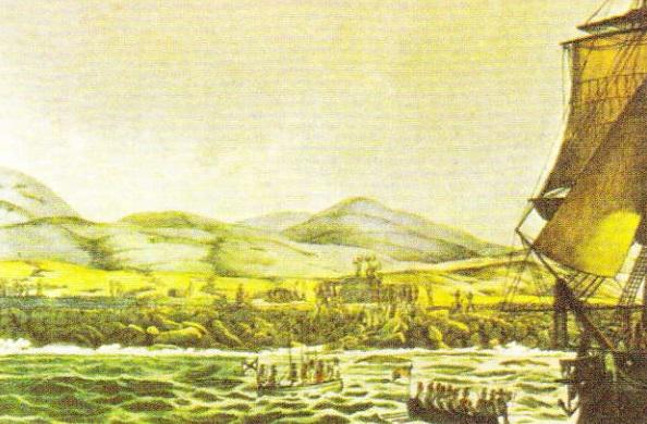 """Nava """"Rurik"""" aruncă ancora in apropierea Insulei Paştelui. Luis Choris, 1816"""