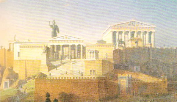 Acropola din Atena - reconstructie. Leo von Klenze - 1846