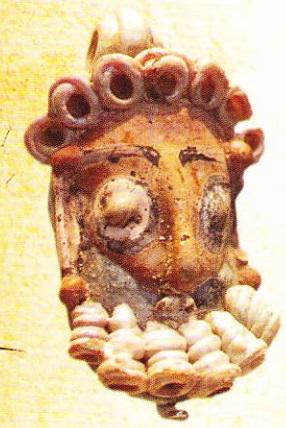 Capul unui bărbat cu barbă. Sticlă. Sec.IV-III i.Hr. Cartagina