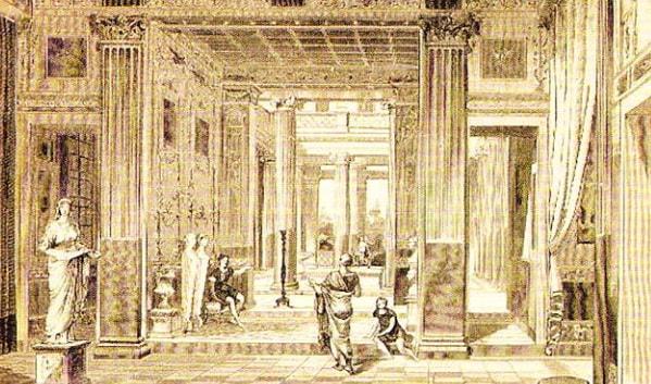 Reconstrucţia unei case în Pompei, 1891