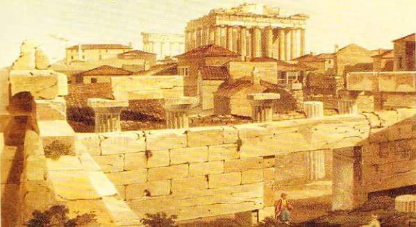 Pictura a acoropolei din Atena (Pictura realizata de Edward Dodwell in 1821)