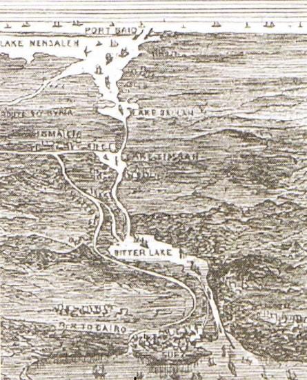 Canalul Suez (desen - anul 1881)