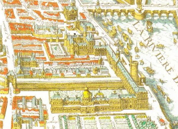 Luvru si Gradinile Tuileries. Harta Merian