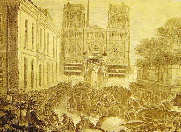 Desen  Catredala Notre-Dame din Paris (Sfarsitul secolului XVIII-lea)