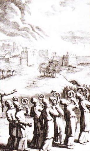 Preotii sufland in corn de berbec catre zidurile Ierihonului. Gravura (sec. XVIII-lea)