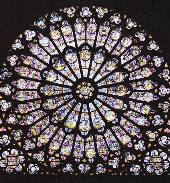 Rosa - cel mai celebru vitraliu din catedrala Notre-Dame
