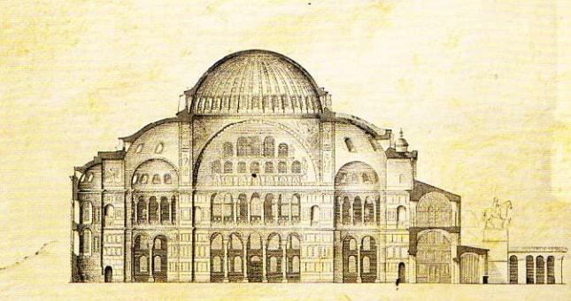 Sectiune longitudinala a reconstructiei catedralei Sfanta Sofia