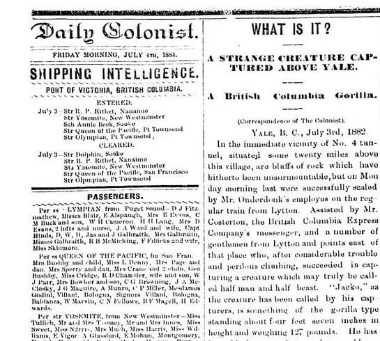 "Ziarul ""Daily Colonist"" - despre semnalarea Bigfoot"