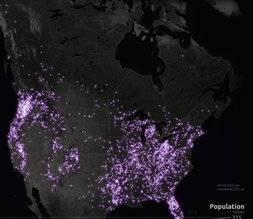 Harta a tututor presupuselor prezente Bigfoot pana in prezent