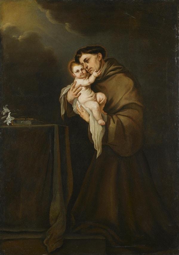 Sfantul Anton de Padova cu pruncul Iisus in brate - pictura de Giacom Farelli