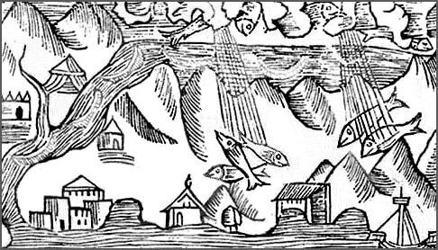 Gravura medievala (Ploaie cu pesti)