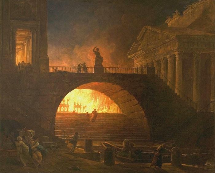 Cetatea Eterna in flacari (tablou de Hubert)