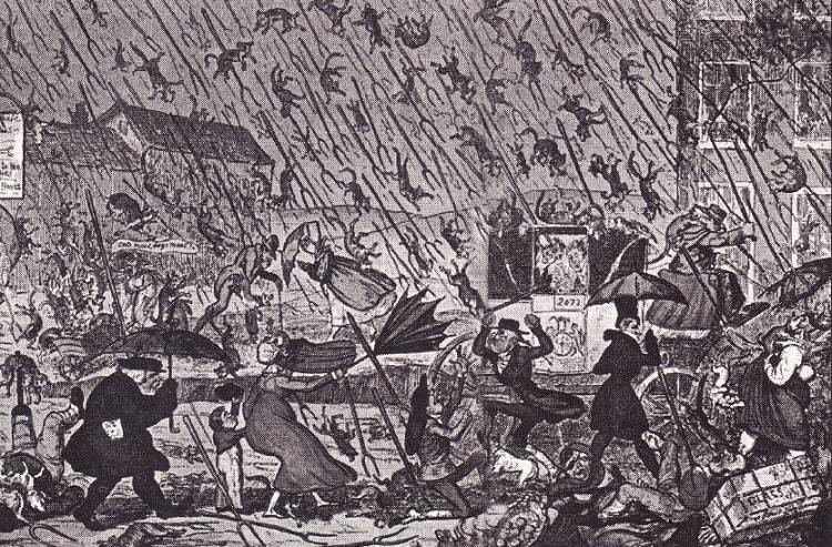 Ploaie cu pisici, caini si furci (caricatura Anglia sec-XIX)