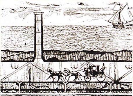 Schita tunelului Canalul Manecii (1802)