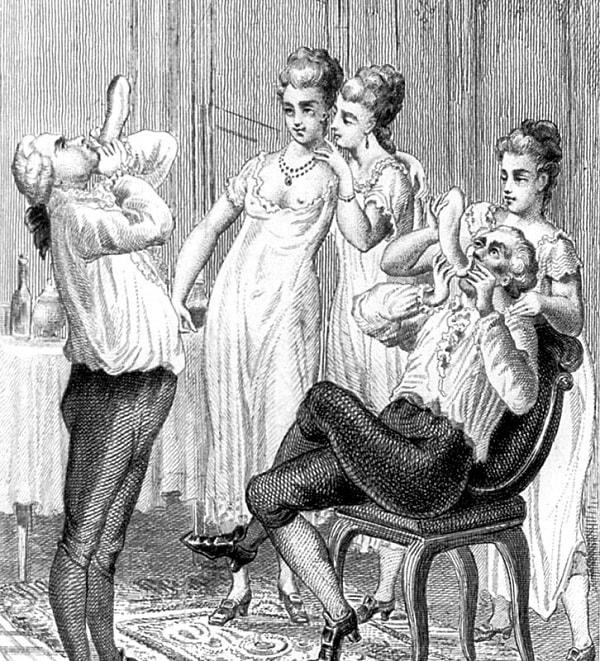 Desen cu Casanova umfland un prezervativ