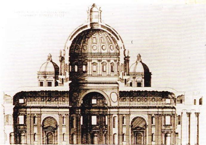 Sectiune a Catedralei Sfantul Petru