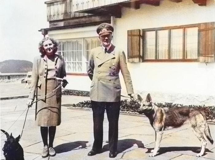 Hitler cu Eva Braun si cu cainele sau mult iubit Blondi