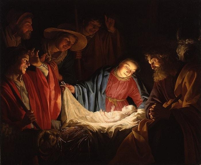 Fecioara Maria alaturi de pruncul Hristos si de pastori