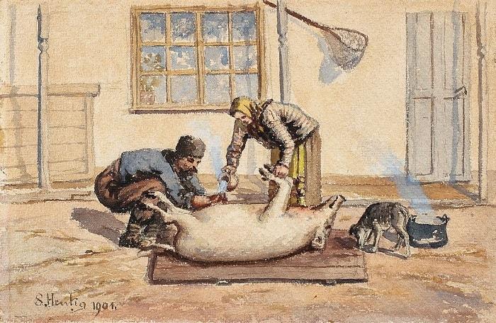 """Tablou de la """"Taierea Porcului"""" - de Sava Henția  (1901)"""