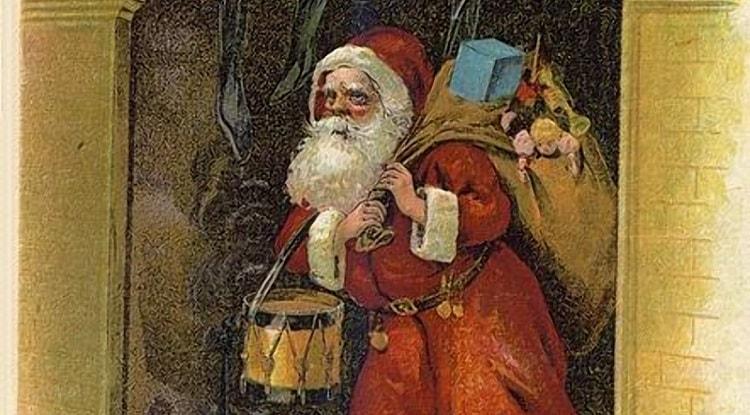 Mos Craciun aducand cadouri copiilor