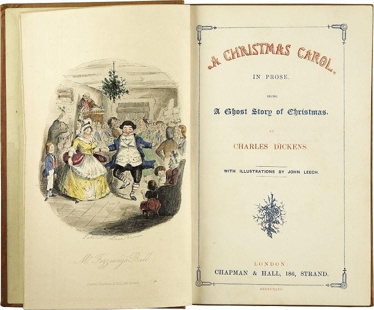 """Prima pagina din """"Cantec de Crăciun"""" de Charles Dickens (din cartea publicata in 1843)"""
