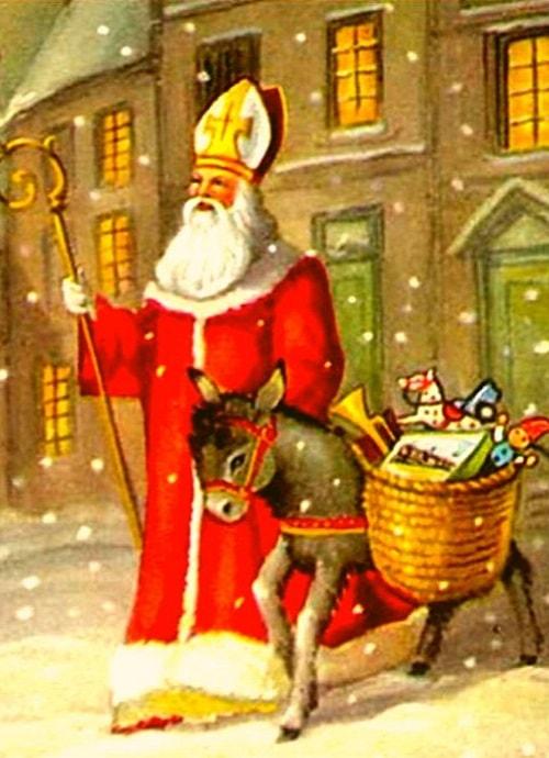 Sfantul Nicolae reprezentat alaturi de un magarus si cadouri