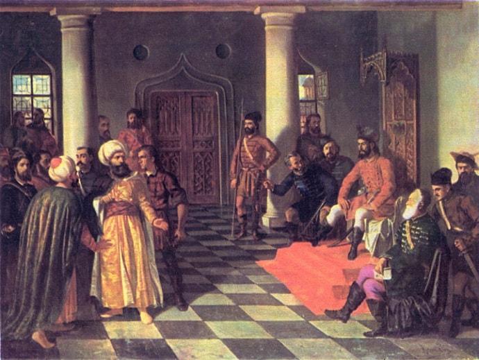 "Vlad Tepes (Dracula) reprezentat intr-un tablou in timp ce ""tinea"" un proces"
