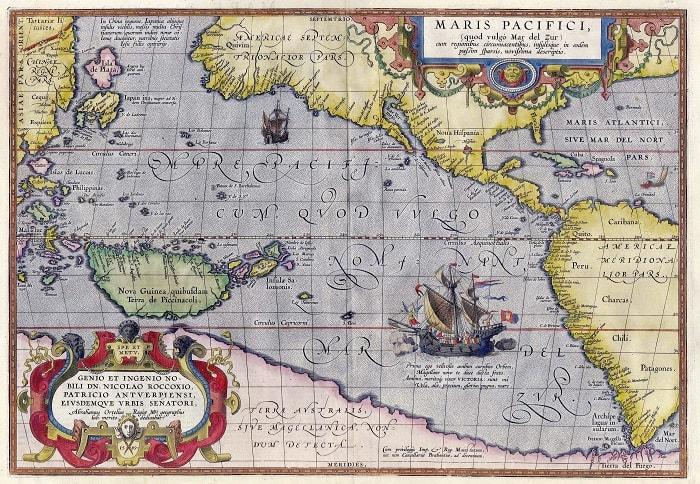 Oceanul Pacific (prima harta tiparita)