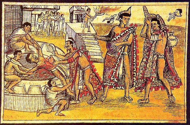 Scena a sacrificiului uman la azteci