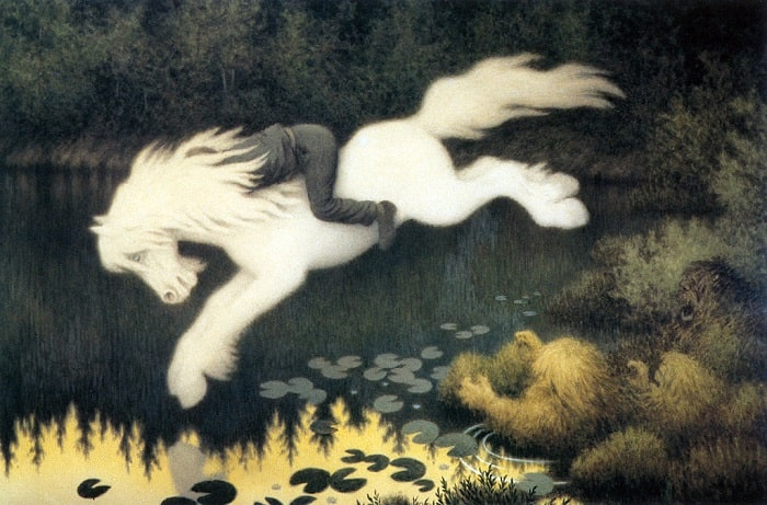 "cal de apa - ""Kelpie"" - tablou de Theodor Kittelsen"