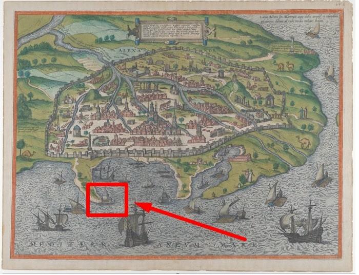Locatia Farului din Alexandria pe harta