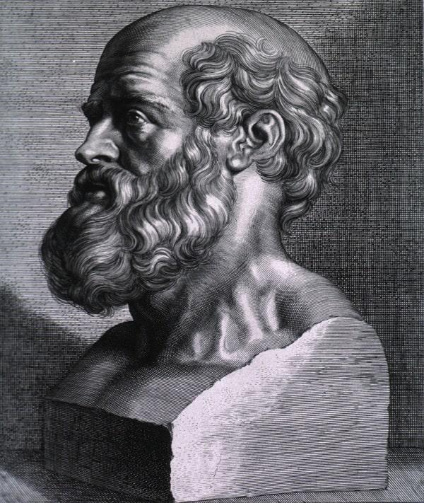 Sculptura a bustului lui Hippocrates din Kos