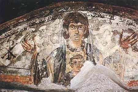 Fecioara Maria cu pruncul Hristos (Pictura din interiorul catacombelor din Roma)